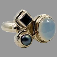 Chalcedony Ring, Purple Iolite, Pearl, Sterling Silver Ring, Vintage Ring, Size 7, Blue Stones, Mixed Stones