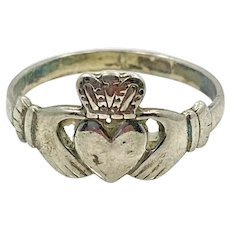 Claddagh Ring, Sterling Silver, Vintage Ring, Irish Jewelry, Celtic Ring, Size 7 1/2, Irish Wedding, Heart, Crown, Hands