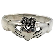 Claddagh Ring, Sterling Silver, Vintage Ring, Size 15, Irish Jewelry, Celtic Ring, Mans Ring, Irish Wedding, Heart, Crown, Hands