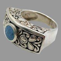 Lapis Ring, Blue Denim Lapis, Sterling Silver, Vintage Ring, Size 6 1/2, Unique, Ethnic, Etched, Blue Stone