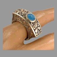 Lapis Ring, Unique Ring, Blue Denim Lapis, Sterling Silver, Vintage Ring, Size 6 1/4, Unique, Ethnic, Etched, Blue Stone
