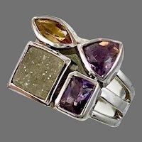 Druzy Ring, Sterling Silver, Multi Stone, Amethyst, Citrine, Vintage Ring, Size 7, Mixed Stones, Boho