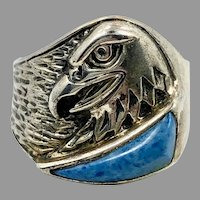 Eagle Ring, Blue Denim Lapis, Sterling Silver, Vintage Ring, Silver Cloud, Native American, Size 9, Mans Ring