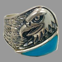Eagle Ring, Turquoise, Sterling Silver, Vintage Ring, Silver Cloud, Native American, Size 8 3/4, Mans Ring