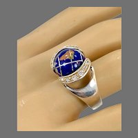 Earth Ring, World, Gemstone Stone, Vintage Ring, 925, Sterling Silver, CZs, Size 7, Inlay Stone, Blue Lapis, Spinning, Unique Unusual