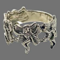 Fairy Ring, Pixie Ring, Sterling Silver, Vintage Ring, Size 7 1/2, Fairy Ring, Ring Band