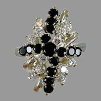 Cluster Ring, Faux Diamond, Black, CZs, Sterling Silver, Vintage Ring, Size 6 1/2, Big