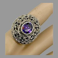 Marcasite Ring, Sterling Silver, Vintage Ring, Size 6 1/2, Large, Big, Faux Amethyst, Purple