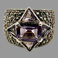 Marcasite Ring, Sterling Silver, Purple Ring, Vintage Ring, Faux Amethyst, Wide Ring Band, Size 6