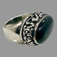 Black Ring, Sterling Silver, Vintage Ring, Size 5 1/2, Black Stone, Wide Ring, Mans Pinky Ring