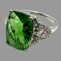 Green Ring, Faux Chrome Diopside, Sterling Silver, Vintage Ring, Size 5 1/2, Faux Peridot, Faux Diamond