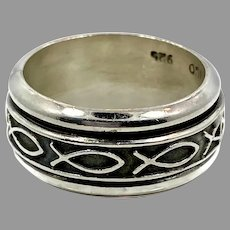 Fish Ring, Jesus fish, Sterling Silver, Vintage Ring, Mexico, Spinner, Worry Ring, Spinning, Size 8, Ring Band