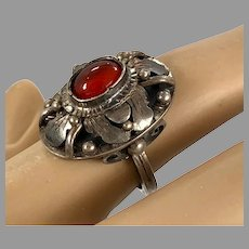 Garnet Ring, Sterling Silver, Vintage Ring, Red Stone, Size 6 1/4, Ornate, Unique, Ethnic, Domed