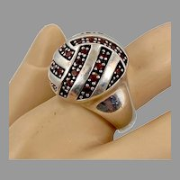 Garnet Ring, Sterling Silver, Vintage Ring, Size 8 1/2, Ball, Domed, Modern, Contemporary, Red Stone, Unique, Unusual