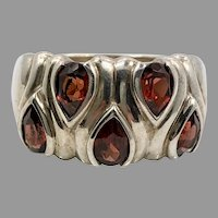 Garnet Ring, Red Ring, Sterling Silver, Vintage Ring, Size 9 1/2, Contemporary, Modern, Red Gemstones