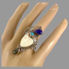 Goddess Ring, Turquoise, Labradorite, Lapis, Sterling Silver, Vintage Ring Size 9, Carved Bone, Bali, Boho Bohemian