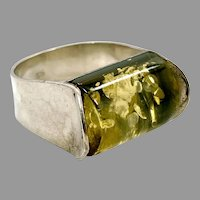 Amber Ring, Sterling Silver, Vintage Ring, Green Amber, Size 8 3/4, NOS, Modern, Amber Stone
