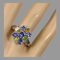 Iolite Ring, Opal, Cluster Ring, Sterling Silver, Vintage Ring, Size 10 1/4, Purple, Multi Stone