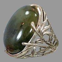 Labradorite Ring, Sterling Silver, Vintage Ring, Large Stone, Art Nouveau Style, Big Statement, Size 7 1/2, Oval, Massive, Chunky