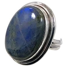Labradorite Ring, Sterling Silver, Vintage Ring, Large Stone, Big Statement, Size 7 1/2, Deep Blue, Oval, Massive Chunky
