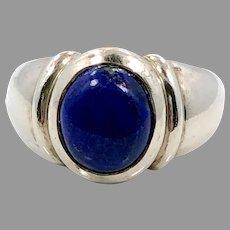 Lapis Ring, Lazuli Lazuli, Sterling Silver, Vintage Ring, CNA, Thailand, Size 7 1/4, Blue Stone