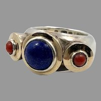 Lapis Ring, Red Coral, Sterling Silver, Vintage Ring, Size 5 1/2, Gypsy Ring, Heavy Sterling