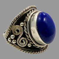 Lapis Ring, Lazuli Lazuli, Sterling Silver, Vintage Ring, Size 6 1/2, Blue Stone, Blue Ring, Ethnic Style
