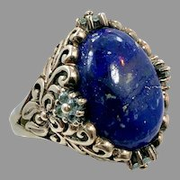 Lapis Ring, Blue Ring, Sterling Silver, Vintage Ring, Size 8 1/2, SA, Thailand, Big Stone, Lazuli Lazuli