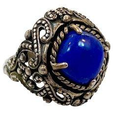 Lapis Ring, Blue Ring, Sterling Silver, Vintage Ring, Size 10, Ethnic, Massive, Big, Large, Lazuli Lazuli