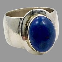 Lapis Ring, Sterling Silver, Heavy Silver, Vintage Ring, Size 7, Blue Stone, Lapis Lazuli, Wide Band
