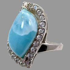 Larimar Ring, Sterling Silver, Vintage Ring, Size 12 1/4, Crystal, Thailand, Blue Stone, Statement Ring, Dolphin Stone