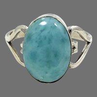 Larimar Ring, Hearts, Sterling Silver, Vintage Ring, Size 7 1/2, Dolphin Stone, Blue Ring, Stefilia, Pectolite, Atlantis