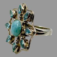 Larimar Ring, Sterling Silver, Vintage Ring, Size 7, Flower Ring, Blue Stone, Dolphin Stone, Faux Blue Topaz