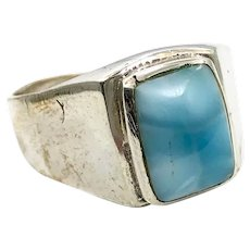 Larimar Ring, Big Stone, Blue, Sterling Silver, Vintage Ring, Size 11 1/2, Mans Ring, Signet Style, Dolphin Stone, Bohemian, Stefilia