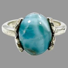 Larimar Ring, Sterling Silver, Vintage Ring, Dolphin Stone, Size 7 1/2, Blue Ring, Blue Stone