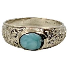Larimar Ring, Blue Stone, Sterling Silver, Vintage Ring, Size 7 1/2, Ring Band, Dolphin Stone, Boho Statement, Bohemian, Modern