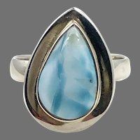 Larimar Ring, Blue Stone, Sterling Silver, Vintage Ring, Size 8, Teardrop, Dolphin Stone