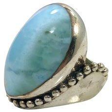 Larimar Ring, Sterling Silver, Vintage Ring, Size 5 1/2, Sajen, Designer, Blue Stone, Dolphin Stone, Huge, Large, Big