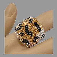 Leopard Ring, Crystal, Sterling Silver, Vintage Ring, Size 8 1/2, Wide, Statement Ring, Unusual, Unique Ring