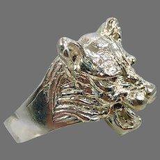 Lion Ring, Sterling Silver, Vintage Ring, Big Statement, Leo, Jungle Animal, Size 8, Large, Rocker Biker