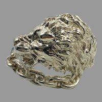 Lion Ring, Sterling Silver, Vintage Ring, Big Statement, Size 9, Leo, Jungle Animal, Huge, Large, Massive, Mens, Mans, Rocker, Biker