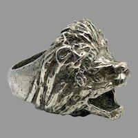 Lion Ring, Sterling Silver, Vintage Ring, Size 7 1/2, Big Statement, Leo, Jungle Animal, Huge Large, Unisex Mens Mans, Rocker Biker