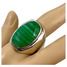 Malachite Ring, Sterling Silver, Vintage Ring, Mexico, Taxco, Size 11, Green Stone, Heavy, Big Statement, Mans, Mens
