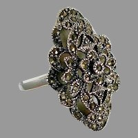 Marcasite Ring, Sterling Silver, Vintage Ring, Size 8 1/2, Art Nouveau Style, Black Ring, Black Stone, Art Deco