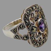 Marcasite Ring, Purple, Sterling Silver, Vintage Ring, Size 9, Art Nouveau Style, Faux Amethyst