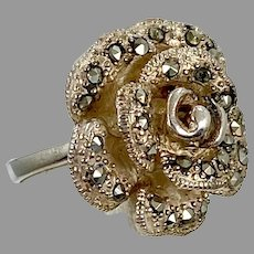 Flower Ring, Sterling Silver, Marcasite, Vintage Ring, Massive, Size 6 1/2, Statement, Unique