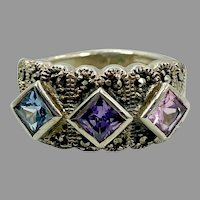 Amethyst Ring, Blue Topaz, Sterling Silver, Marcasite, Pink, Vintage Ring, Ring Band, Gemstone, Multi Stones, Size 7