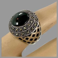 Black Ring, Marcasite, Enamel, Sterling Silver, Vintage Jewelry, Big Statement, Size 7, Thai, Thailand, Massive, Large