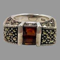 Marcasite Ring, Black Stones, Faux Garnet, Sterling Silver, Vintage Ring, Size 6 1/4, Big, Unique, Art Deco Style