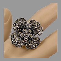 Marcasite Ring, Flower Ring, Black Stones, Sterling Silver, Vintage Jewelry, Statement, Size 8 1/2, Black Ring